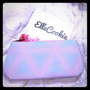 CLINIQUE Pink & Mint Triangle Print Makeup Bag